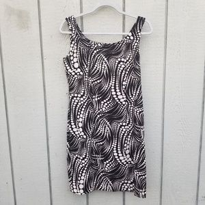 AGB DRESS BLACK W/WHITE DIFFERENT SIZED DOTS